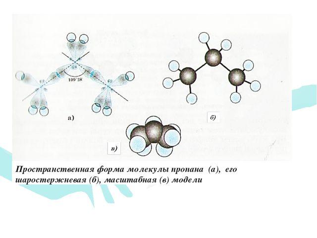 Пространственная форма молекулы пропана (а), его шаростержневая (б), масштабн...