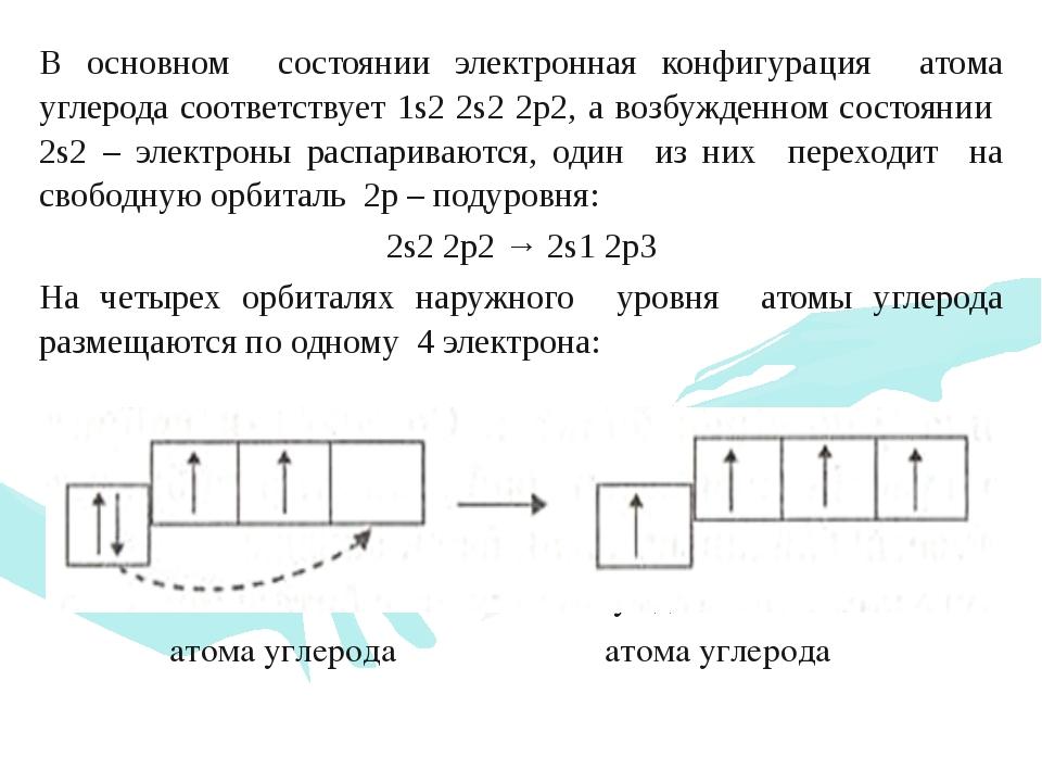 В основном состоянии электронная конфигурация атома углерода соответствует 1s...