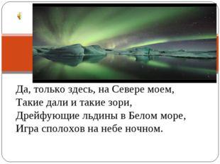 Да, только здесь, на Севере моем, Такие дали и такие зори, Дрейфующие льдины