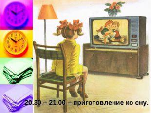 20.30 – 21.00 – приготовление ко сну.