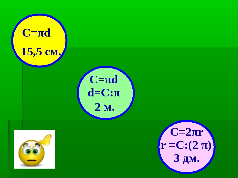 15,5 см. 2 м. 3 дм. С=πd С=πd d=С:π r =C:(2 π) C=2πr