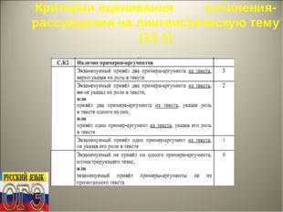 Критерии оценивания сочинения-рассуждения на лингвистическую тему (15.1)