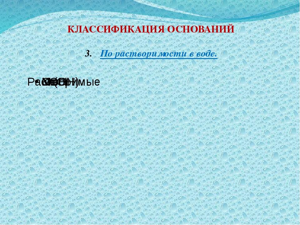 КЛАССИФИКАЦИЯ ОСНОВАНИЙ По растворимости в воде.