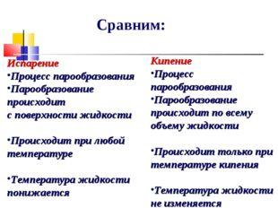 Сравним: Испарение Процесс парообразования Парообразование происходит с повер