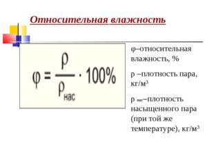 Относительная влажность φ–относительная влажность, % ρ –плотность пара, кг/м3