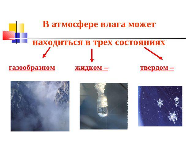В атмосфере влага может находиться в трех состояниях: газообразном - в виде п...