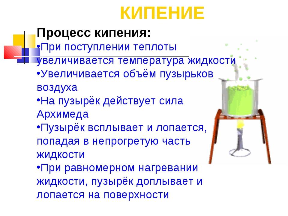 КИПЕНИЕ Процесс кипения: При поступлении теплоты увеличивается температура жи...