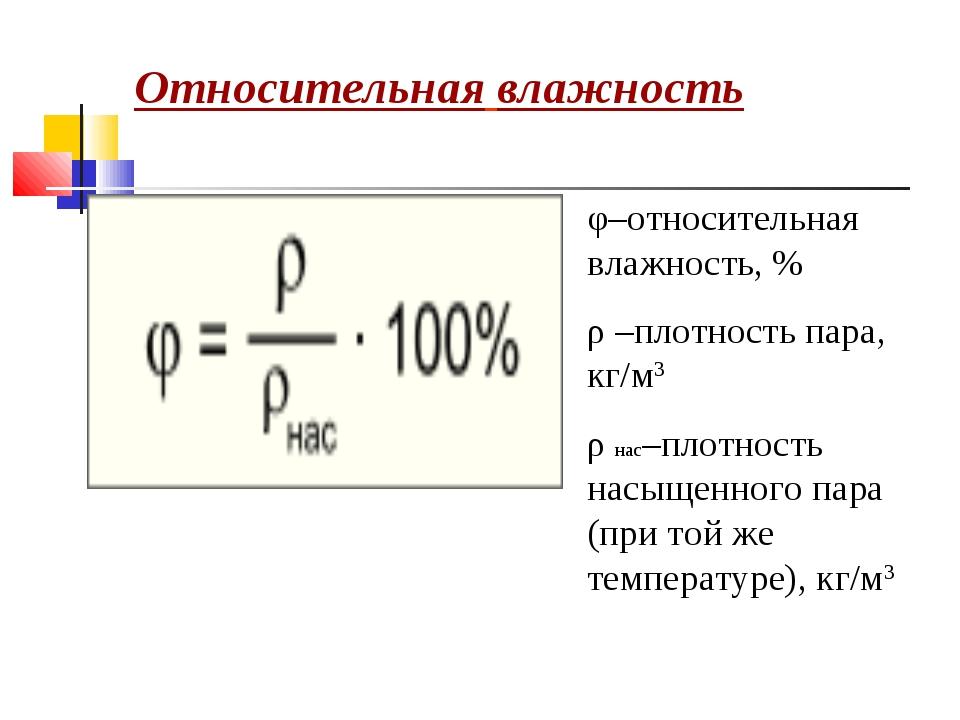 Относительная влажность φ–относительная влажность, % ρ –плотность пара, кг/м3...