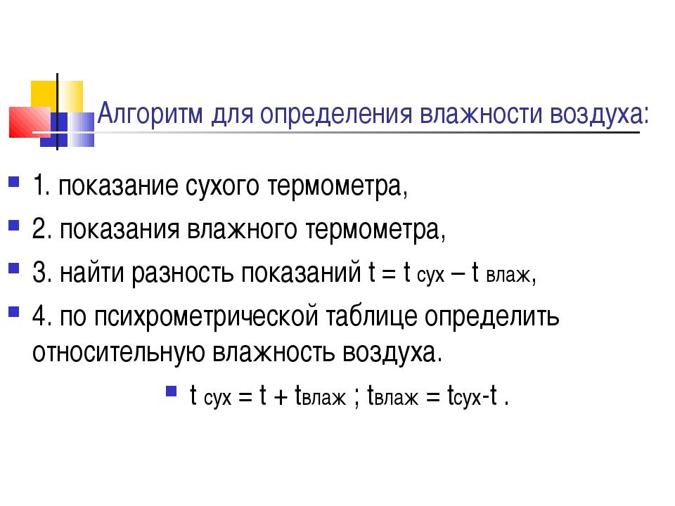 Алгоритм для определения влажности воздуха: 1. показание сухого термометра, 2...