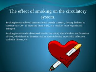 The effect of smoking on the circulatory system. Smoking increases blood pres
