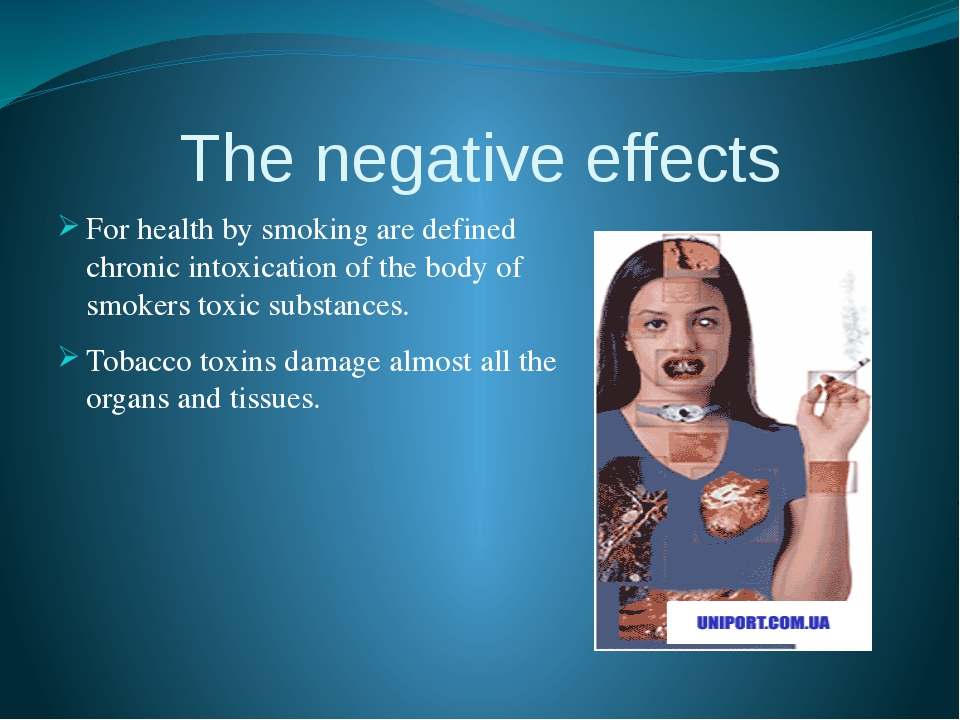 The negative effects For health by smoking are defined chronic intoxication o...