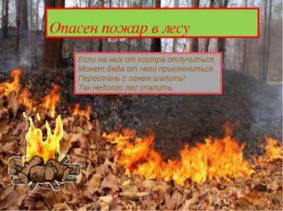 Опасен пожар в лесу Если на миг от костра отлучиться, Может беда от него при