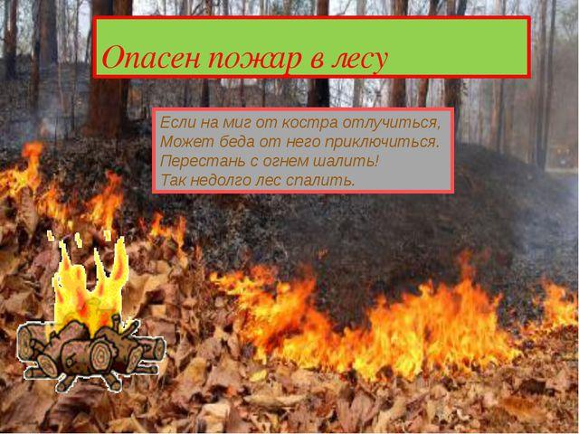 Опасен пожар в лесу Если на миг от костра отлучиться, Может беда от него при...