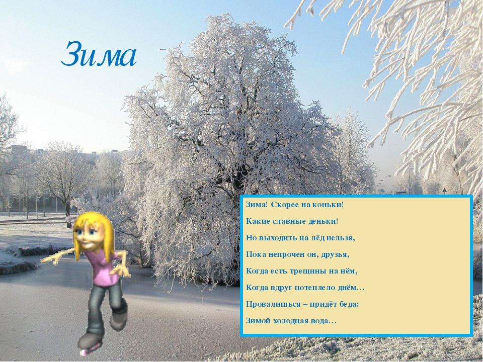 Зима! Скорее на коньки! Какие славные деньки! Но выходить на лёд нельзя, Пока...