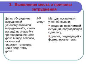 3. Выявление места и причины затруднения Цель: обсуждение затруднений («Почем