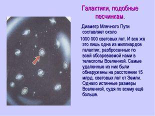 Галактики, подобные песчинкам. Диаметр Млечного Пути составляет около 1000 00