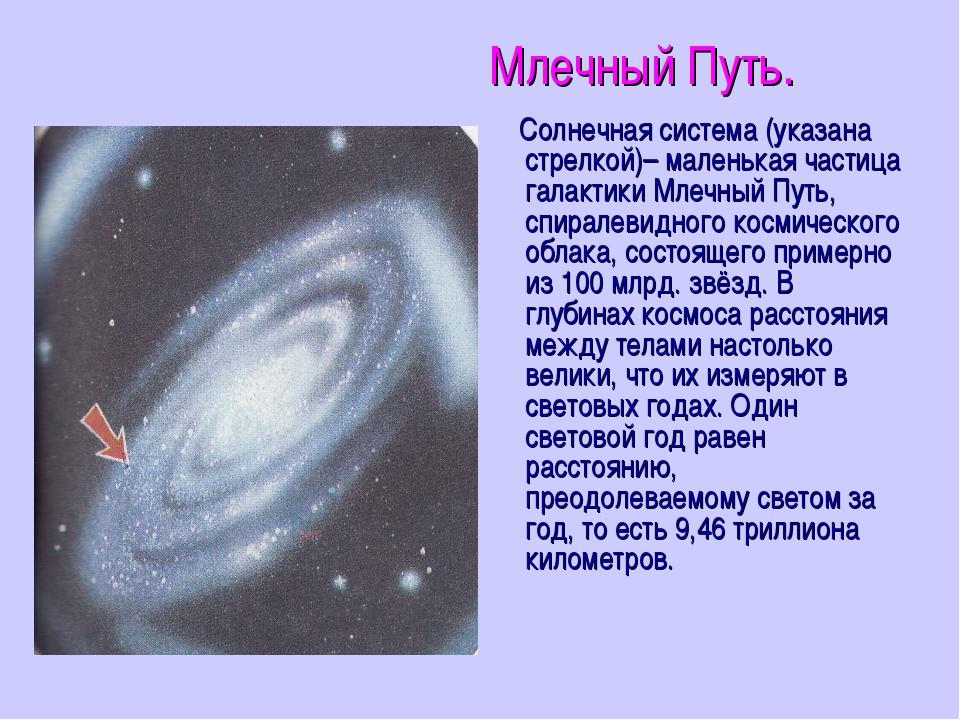 Млечный Путь. Солнечная система (указана стрелкой)– маленькая частица галакти...