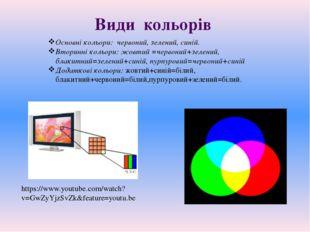 https://www.youtube.com/watch?v=GwZyYjzSvZk&feature=youtu.be Основні кольори: