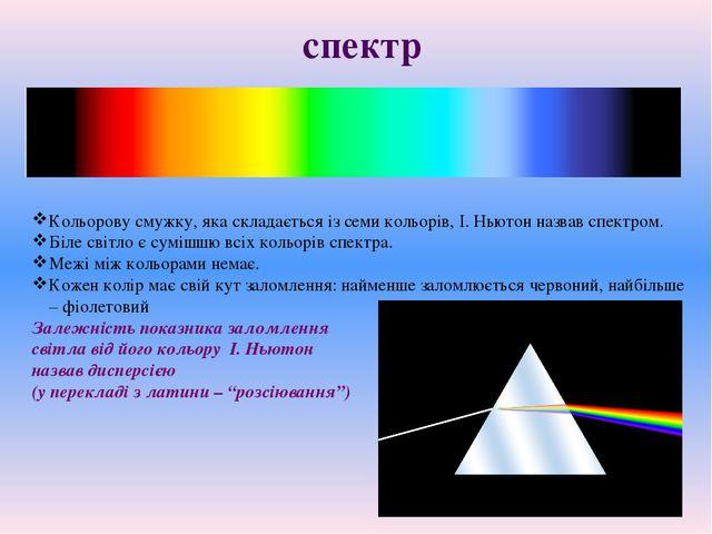 Кольорову смужку, яка складається із семи кольорів, І. Ньютон назвав спектром...