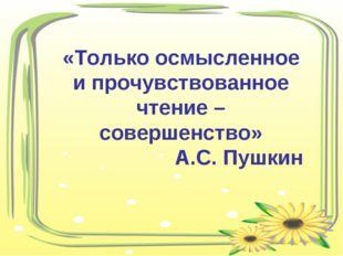 «Только осмысленное и прочувствованное чтение – совершенство» А.С. Пушкин