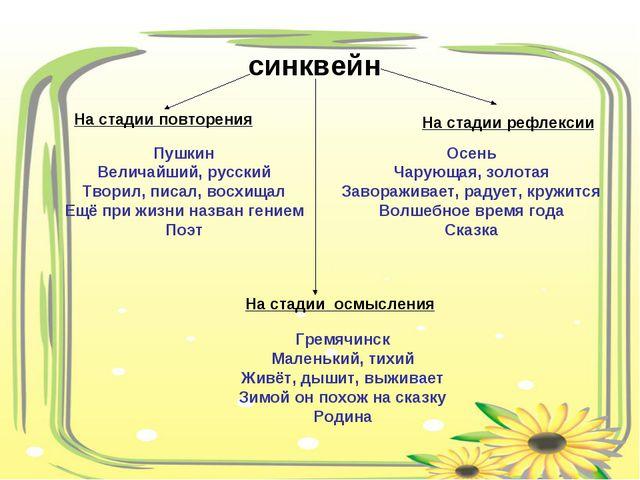синквейн На стадии повторения На стадии осмысления На стадии рефлексии Пушкин...