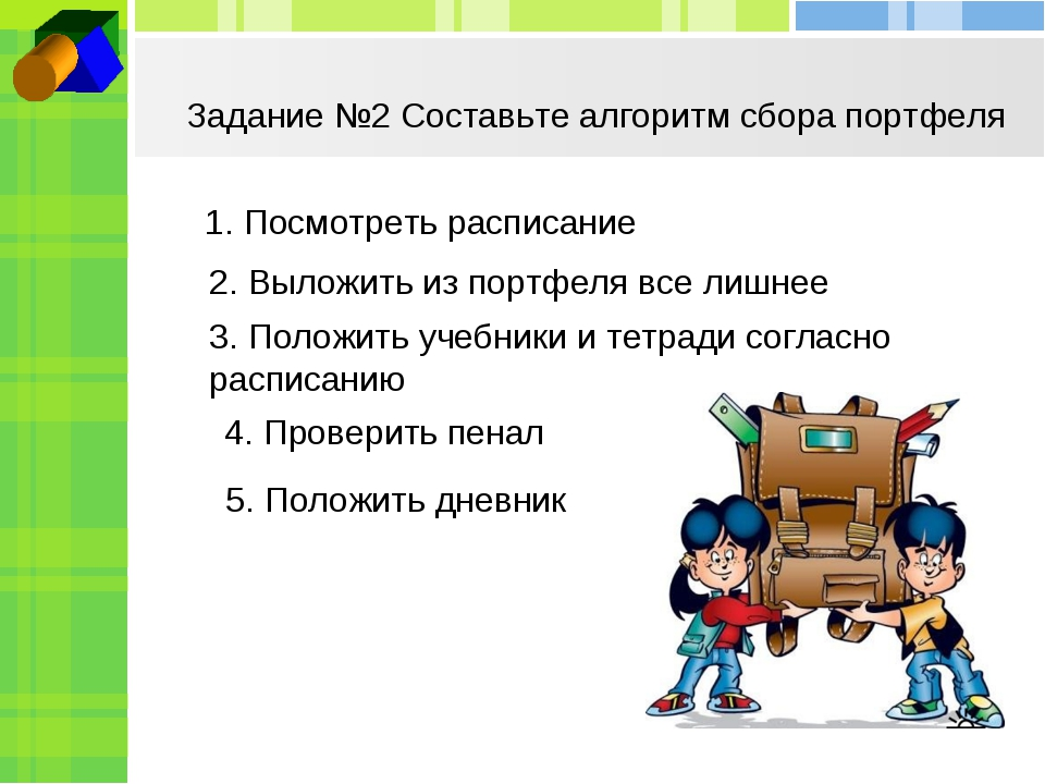 Задание №2 Составьте алгоритм сбора портфеля 1. Посмотреть расписание 2. Выло...