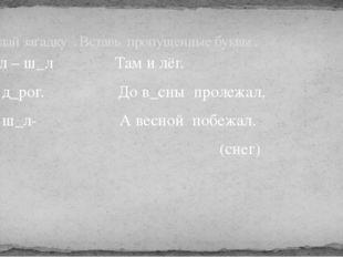 Ш_л – ш_л Там и лёг. Без д_рог. До в_сны пролежал, Где ш_л- А весной побежал.