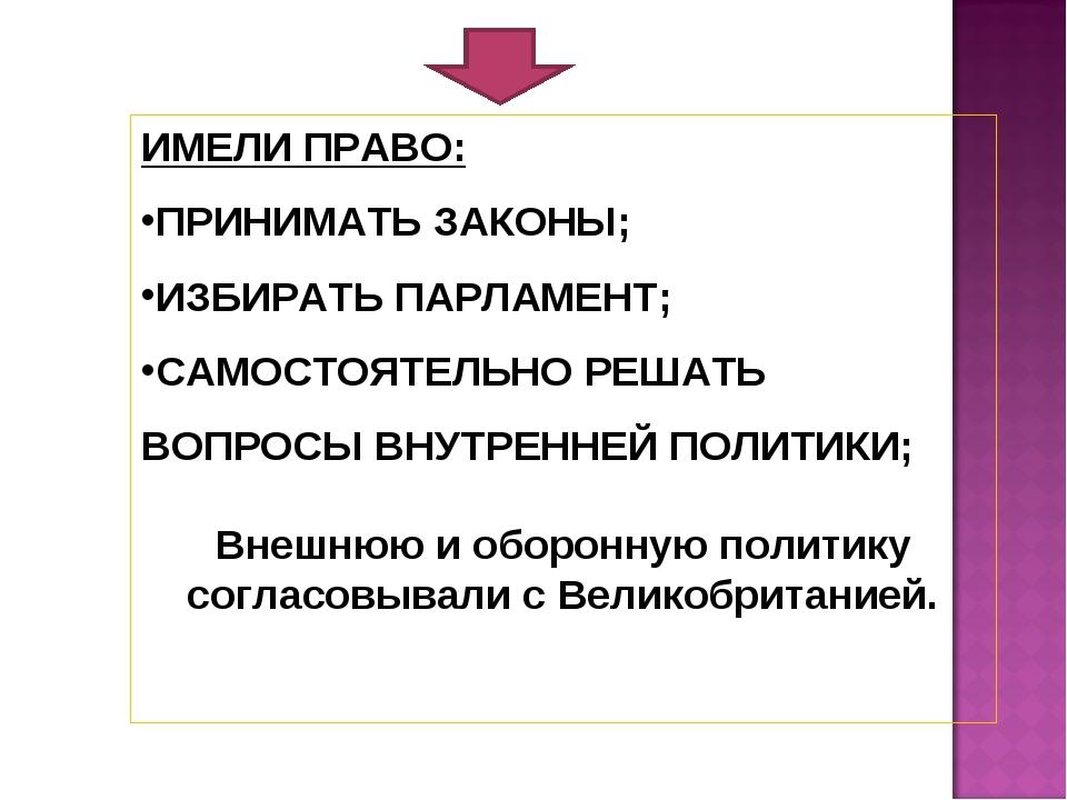 ИМЕЛИ ПРАВО: ПРИНИМАТЬ ЗАКОНЫ; ИЗБИРАТЬ ПАРЛАМЕНТ; САМОСТОЯТЕЛЬНО РЕШАТЬ ВОПР...