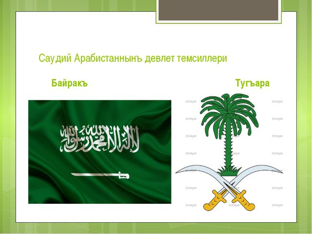 Саудий Арабистаннынъ девлет темсиллери Байракъ Тугъара
