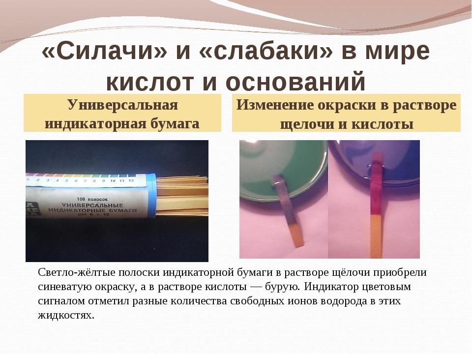 «Силачи» и «слабаки» в мире кислот и оснований Универсальная индикаторная бум...