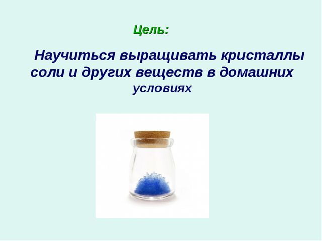 Цель: Научиться выращивать кристаллы соли и других веществ в домашних условиях