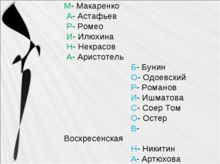 М- Макаренко А- Астафьев Р- Ромео И- Илюхина Н- Некрасов А- Аристотель Б- Бун