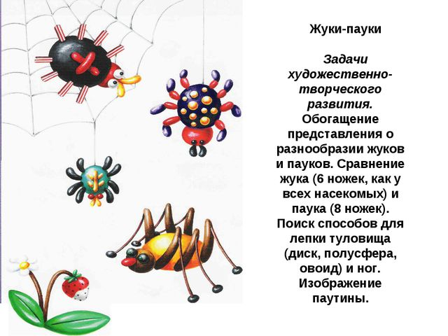 Жуки-пауки Задачи художественно-творческого развития. Обогащение представлени...