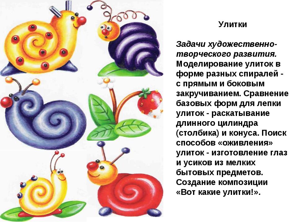 Улитки Задачи художественно-творческого развития. Моделирование улиток в форм...
