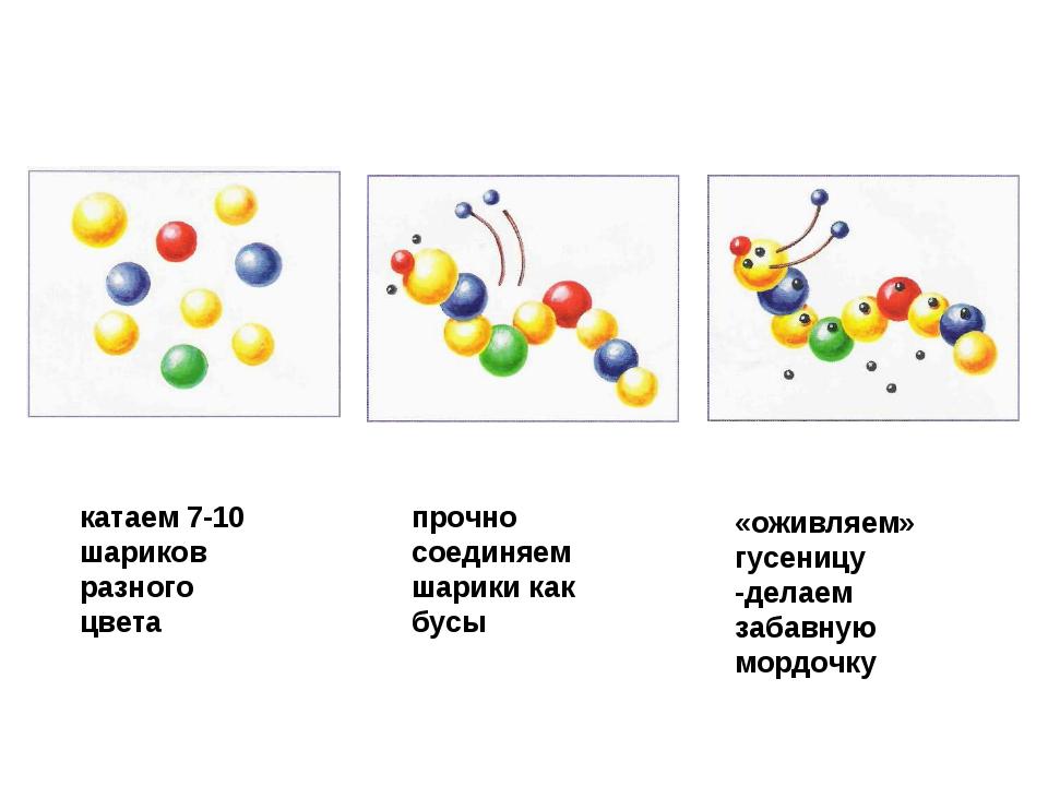 катаем 7-10 шариков разного цвета прочно соединяем шарики как бусы «оживляем»...