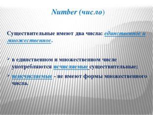 Number (число) Существительные имеют два числа: единственное и множественное.