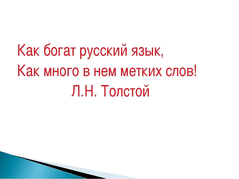 Как богат русский язык, Как много в нем метких слов! Л.Н. Толстой