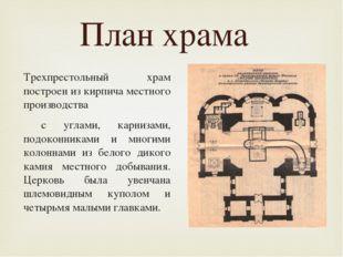 План размещения святынь Трехпрестольный храм построен из кирпича местного пр