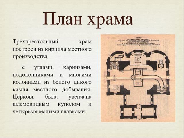 План размещения святынь Трехпрестольный храм построен из кирпича местного пр...