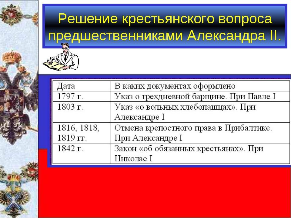 Решение крестьянского вопроса предшественниками Александра II.