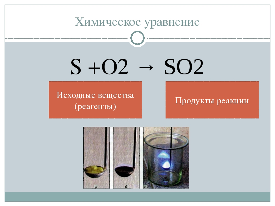 Химическое уравнение S +O2 → SO2 Исходные вещества (реагенты) Продукты реакции