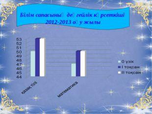 Білім сапасының деңгейлік көрсеткіші 2012-2013 оқу жылы