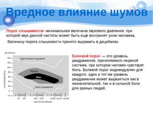 Вредное влияние шумов Порог слышимости- минимальная величина звукового давлен