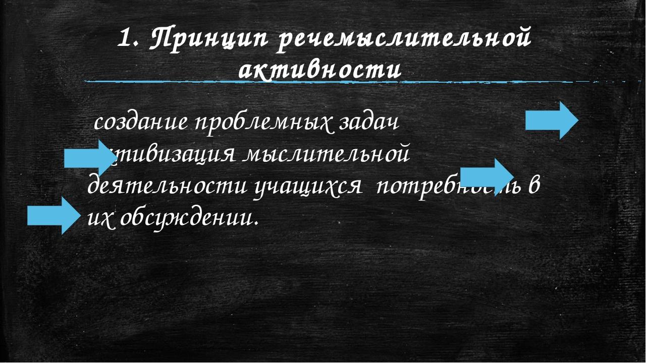 1. Принцип речемыслительной активности создание проблемных задач активизаци...