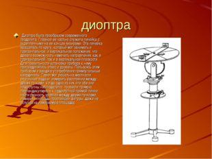 диоптра  Диоптра была прообразом современного теодолита. Главной ее частью с
