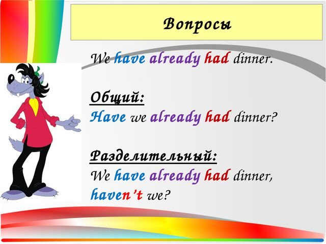 Вопросы We have already had dinner. Общий: Have we already had dinner? Раздел...