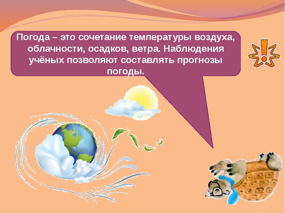 Погода – это сочетание температуры воздуха, облачности, осадков, ветра. Набл...