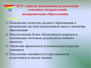 ЕГЭ -один из механизмов реализации основных направлений модернизации образов