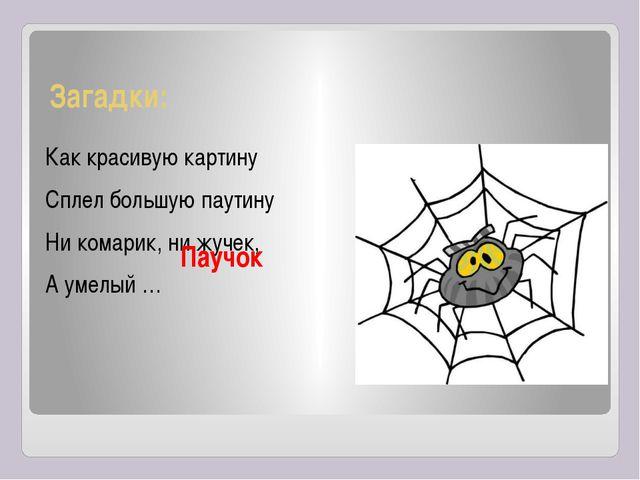Загадки: Как красивую картину Сплел большую паутину Ни комарик, ни жучек, А у...
