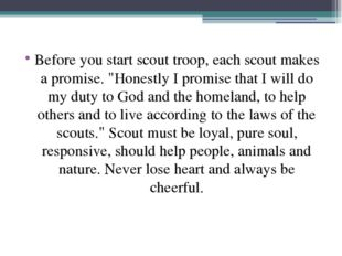 """Before you start scout troop, each scout makes a promise. """"Honestly I promise"""